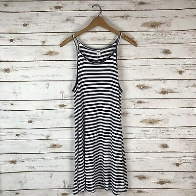 05cfad005b OLD NAVY WHITE Blue Striped Sleeveless Jersey Knit Swing Dress Size Large  Petite -  15.99
