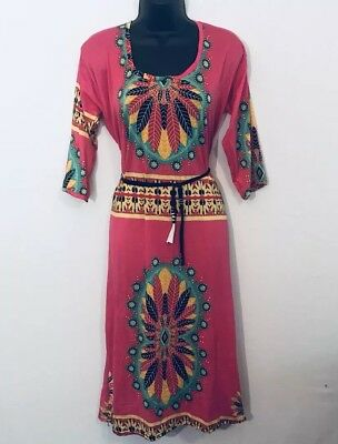 African Womens Pink and Multicolor Dress
