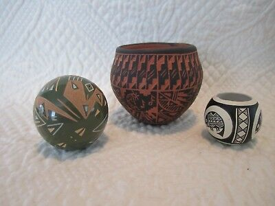 Group of Miniature 3 Native American Indian Pottery
