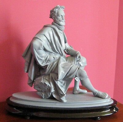antique victorian white metal statue scholar king man wood base sculpture think