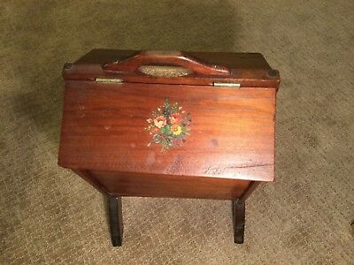 Antique Sewing Stand With Tray And Dual Flip Tops
