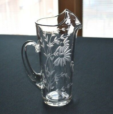 Cut Glass Daisy Pattern Hand Blown Water Pitcher With Ice Guard