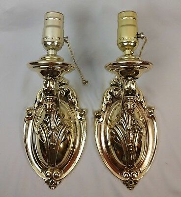 Pair Antique Vintage Art Nouveau Cast Brass Sconces c1905 Restored