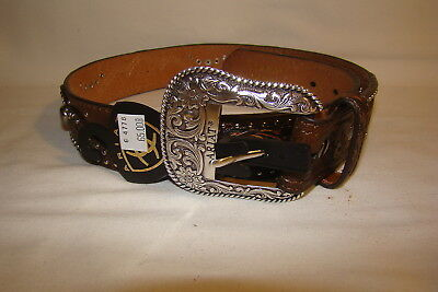 Ariat Western Belt Brown Two-Tone Leather Tooled Stud Concho A1520202 Womens S