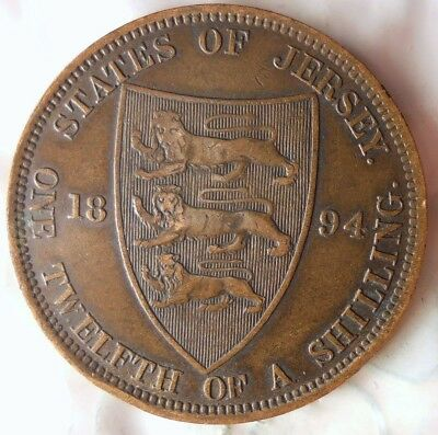 1894 JERSEY 1/12 SHILLING - High Grade - Very Low Mintage Coin - Lot #718