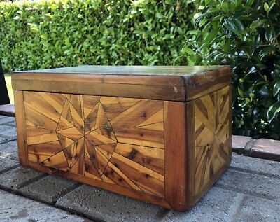 Antique Wood Box American Folk Marquetry Hinge Lid Star Design Handmade 1940