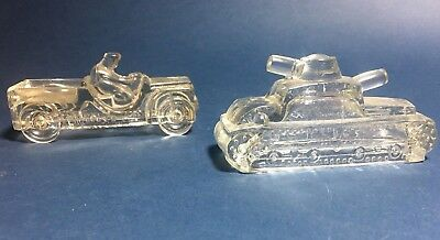 Vintage Jeanette Glass Army Tank & J H Mill Stein Co Candy Containers