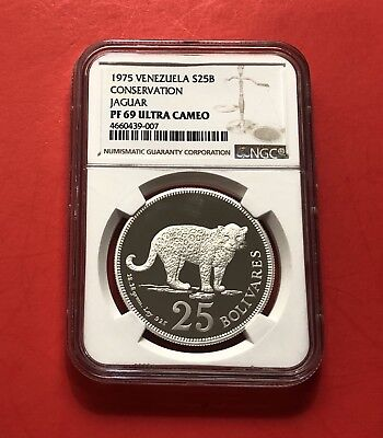 Venezuela 1975***almost Perfect***25 Bolivares Silver Pf, Ngc Graded Pf 69 Proof