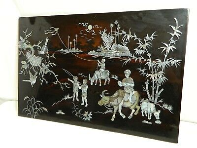 Vtg Asian Wall Art Shell Inlay Mother Of Pearl Black Laquered Brahman Village