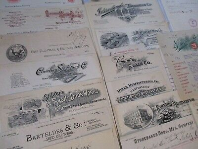 Large Lot Of Antique Letter Heads , Advertising 1800's-1920's !! Full List Of 49