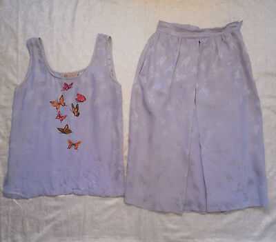Gucci Vintage Womens Top Skirt Outfit Sz 40 Silk Butterfly Print Midi Rare Italy