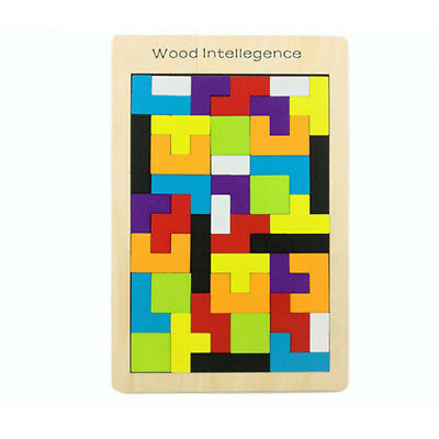 Colorful Wooden Tetris Puzzle Toy Brain Teaser Game Kids Educational Toy