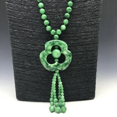 collect China carving exquisite pure natural green Jade necklace.
