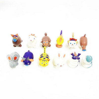 AUTHENTIC おぐら屋 Joint box local toys Wood carving coloring Zodiac Fig...