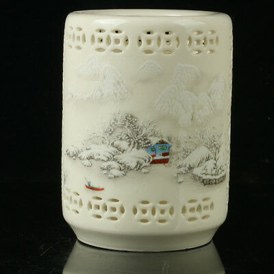 Chinese Porcelain Hand-painted Snow Scene Hollow Brush Pot Qianlong Mark R1135