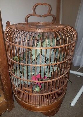 Beautiful Large Chinese Bamboo Bird Cage with Silk Vines and Red Birds 26 x 16