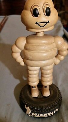 Vintage Rare Michelin Man Bobble Head On Tire In Excellent Condition (No Box)