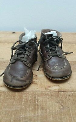 Vintage 1950's Brown Leather Toddler, Infant, Baby Shoes