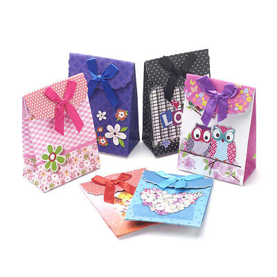Colorful Bowknot Gift Paper Bags Party Stick Handle Candy Bags Pouch 16.5x12.5CM