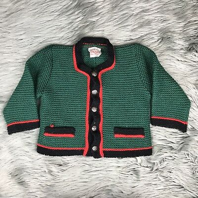 Lusana Baby Girls Button Down Red Green Knit Holiday Christmas Sweater