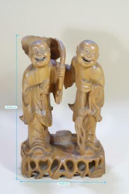 "Chinese Carved Wood ""Tongzi"" Immortal Statues."