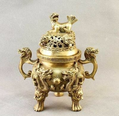 China Brass carved Dragon&FOO FU Dog Incense Burner/Censer Statue d02