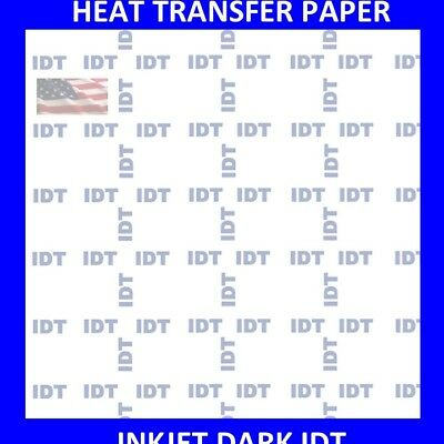 "IDT InkJet HEAT TRANSFER PAPER IRON ON DARK T SHIRT 20 PK 8.5""x11"" TOP SELLER"