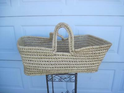 Moses Basket Bassinet Handwoven Baby Bed or Decor Sturdy 23""
