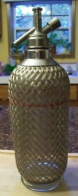 Vintage Sparklets Seltzer Syphon Wire Mesh And Glass Bottle Made In England OLD