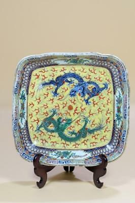 A Chinese Export Porcelain Dragon Plate.