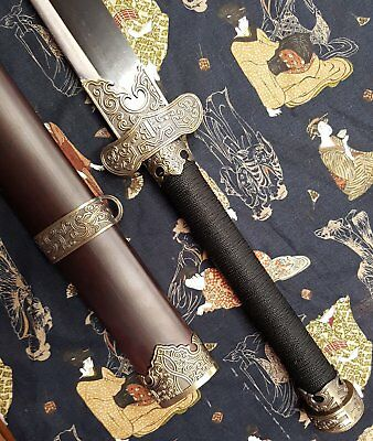 NEW War Sword 20% OFF Chinese Two Handed Dao Sword wih Stained Timber Sheath