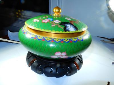 Vintage Chinese Green Cloisonne covered green dish on wood stand