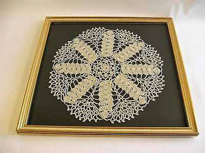 """Vintage Hand Made Crocheted Doily Framed Large 12 1/2"""" with glass decorative"""