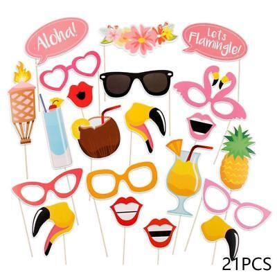21pcs flamingo chicken photo booth props hawaii party decor