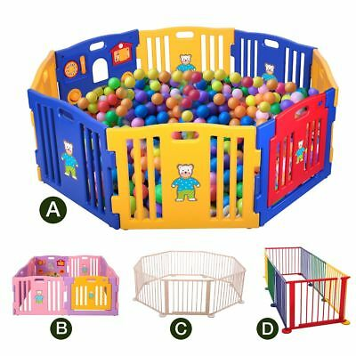 Baby Playpen Kids 8 Panel Safety Play Center Yard Home Indoor Outdoor