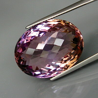 25.58Ct.Real Natural HUGE Purple&Golden Ametrine Oval Checkerboard Eye Clean!