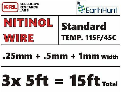 3 SIZES SHAPE MEMORY WIRE NITINOL = .25/.5/1mm VARIETY PACK#24 ALL Standard Temp