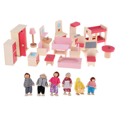 Cute Dolls Wooden House 6 Family People Kids Children Pretend Play Toy Gift