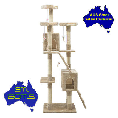 180cm Cat Scratching Tree Post Sisal Pole Condo Toy Furniture Multi level FunGym