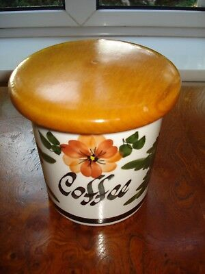 Vintage Retro TONI RAYMOND Hand Painted COFFEE Storage Jar Wooden Lid - VGC
