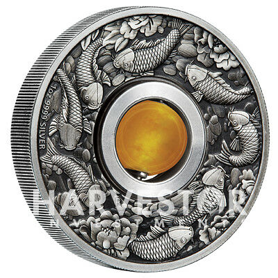 2018 Good Luck Rotating Charm - Antiqued Silver 1 Oz. Coin - Yello Topaz - Ogp