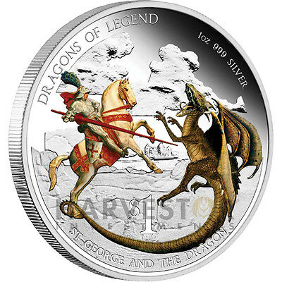2012 Australian Dragons Of Legend - St. George And The Dragon Silver Coin 1 Oz..