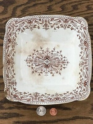 RARE Antique 1885 T&R Boote TOURNAY Brown White Stafford Shire Bowl Fruit Dish
