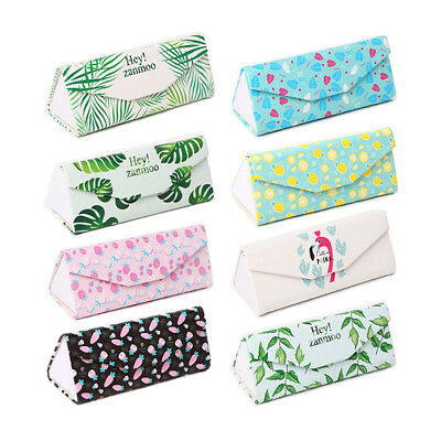 lovely pu fold up sunglasses case protable light triangular fold glasses case  I