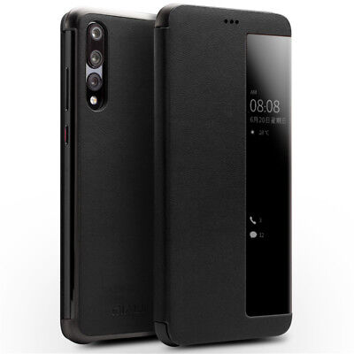 QIALINO View Window Cowhide Leather Smart Case for Huawei P20 Pro