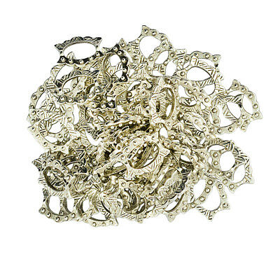 50pc Silver Tone Bead Frames 16 x 12 mm Findings Spacer Beads Jewelry Making