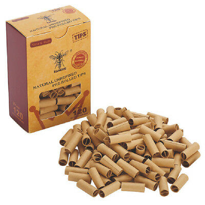 120pcs HORNET PRE ROLLED Natural UnRefined Cigarette Filter Rolling Paper Tips