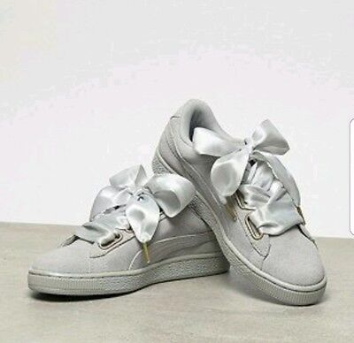 best sneakers d7e9a dd6ee WOMEN'S PUMA BASKET Heart sneakers shoes Grey silver ribbon laces WITH BOX  10
