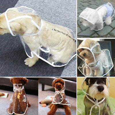 6 Size Pet Dog Rain Coat Jacket Transparent Puppy Waterproof Hooded Clothes