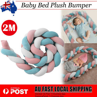 Baby Infant Plush Crib Bumper Bed Bedding Cot Braid Pillow Pad Protector 200cm